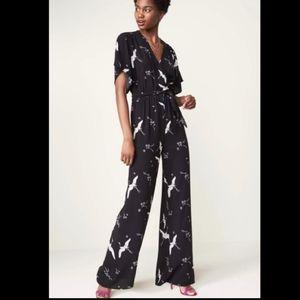 Anthropologie Leith Kimono Bird Print Jumpsuit